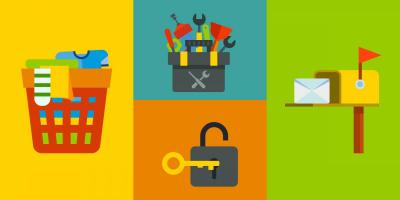 colorful icons - laundry, toolbox, mailbox, lock and key