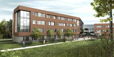 Architect's rendering of new residence hall to be built at Penn State Brandywine.
