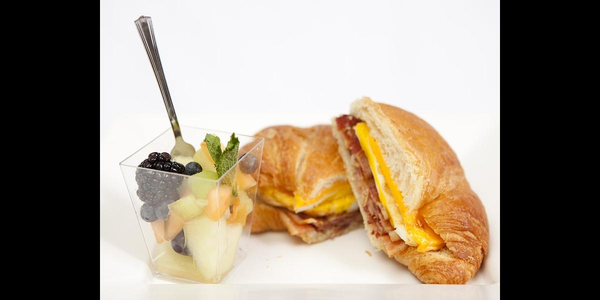 Penn State catering breakfast sandwich and fruit cup