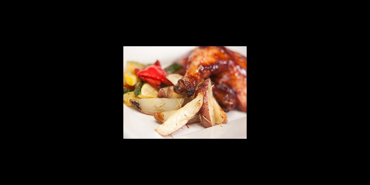Penn State catering barbecued chicken and potatoes