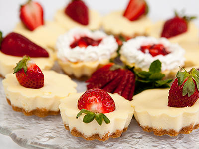 Penn State catering mini strawberry cheesecakes