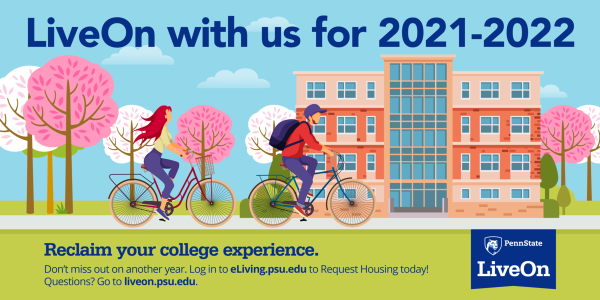 "illustration of students on bikes in the spring with headline ""LiveOn with us for 2021-2022"""