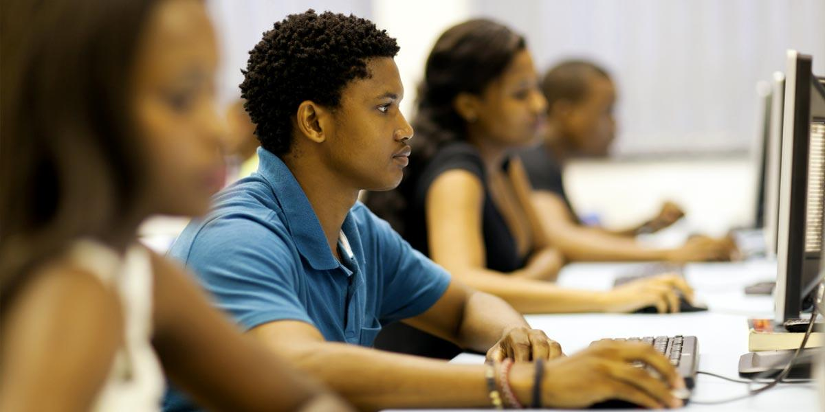 students using computers